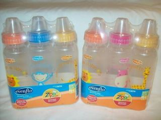 NEW Evenflo Zoo Friends 8 oz Baby Bottles BPA Free