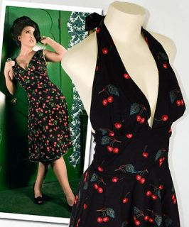 Vtg Retro Cherry Rockabilly Monroe Halter Pinup Swing Dress XL