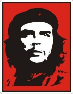 Che Guevara Portrait Black/Red Sticker   4.5 x 3.5