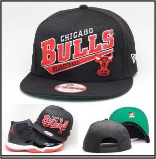 New Era Chicago Bulls Snapback Hat Black / Red / White