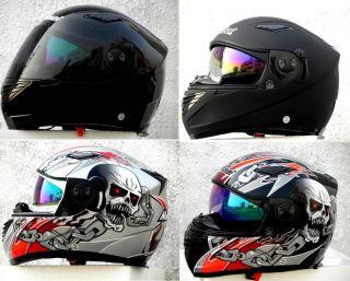 MASEI 830 Matte Black Grey Silver/Black Silver Skull DOT Motorcycle