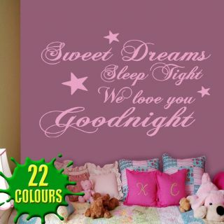 Sweet Dreams Sleep Tight v2   Childrens Wall Decal Quote Sticker