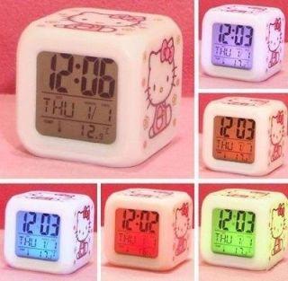 Newly listed New 7 LED Color Colour Hello Kitty Digital ALARM CLOCK