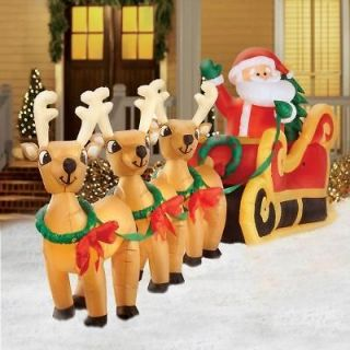 Gigantic Santa Sleigh with Reindeer Christmas Inflatable NEW