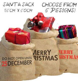 Inspired Hessian Christmas/Sant​a Sack   Stocking, Five Designs