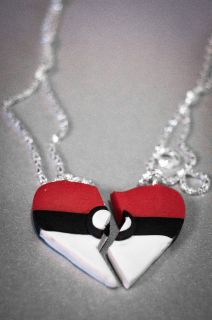 Best Friends BFF Necklace Pokeball Pokemon Friendship Ash Anime
