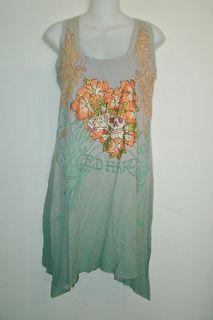 Ed Hardy Christian Audigier Rhinestone T shirt Tank Dress Plumeria