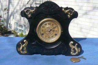 Black Enamel Music Box Antique Shelf Mantle Clock Raised Trim Ormolu