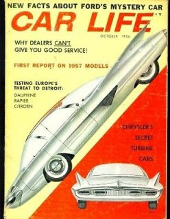 Car life oct 1956 isabella citroen turbine car sunbeam renault ford
