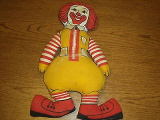 Vintage, Collectible Ronald McDonald Frabic Clown doll