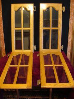 Solid Oak Beveled Edge Glass Panel Kitchen Doors