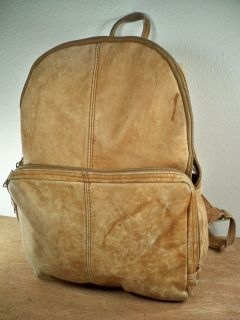 Vintage MADE IN COLOMBIA Brown Leather Backpack Camping Bag School