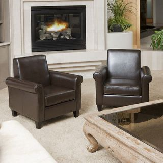 Set of 2 Stylish Contemporary Design Brown Leather Cigar Club Chairs