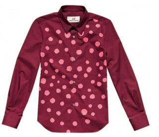COMME DES GARCONS H&M RED COTTON PINK SPLATTER FITTED SHIRT 8 4 34
