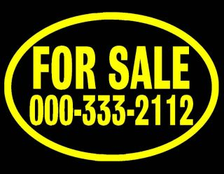 FOR SALE VINYL WINDOW DECAL YELLOW 7X10 AUTO TRUCK CAR