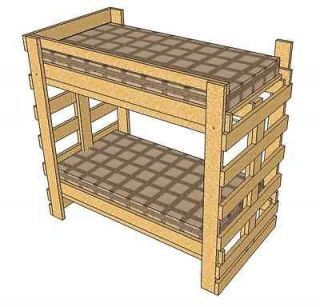 Bild 3 in 1 BUNK BED PLAN Desk Storage & Bed in One Woodworking Plan