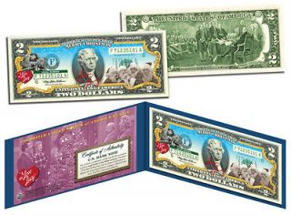 COLORIZED 2 DOLLAR NOTE GIFT ,LEGAL CURRENCY BILL  NEW