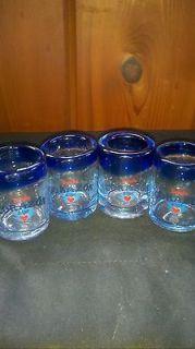 CORAZON TEQUILA SHOT GLASSES HAND BLOWN w/ COBALT BLUE RIM   SET OF 4