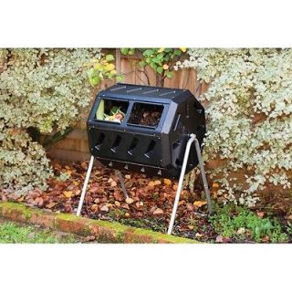 Cubic Foot 2 Chamber Tumbling Spining Composter Bin Lawn Garden NEW