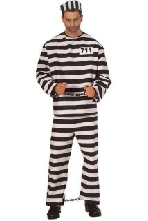 Mens Prisoner Convict Jail Inmate Costume Fancy Dress Up Size 2XL to