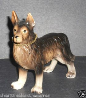 German Shepherd Dog Figurine Collectible Ceramic Black & Tan Statue