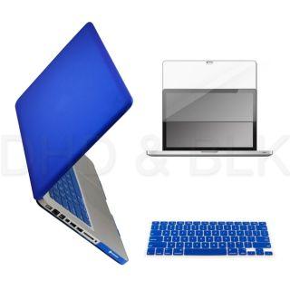 Blue Hard Case for Macbook Pro 15 + Keyboard Cover + Screen Guard