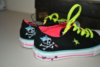 NIB Converse One Star Black & Pink Skull & Bone Love Shoes Sz. 13 Kids