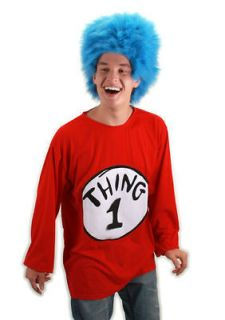 Thing 1 ADULT Costume Kit Size XXL NEW Dr. Seuss T Shirt Wig