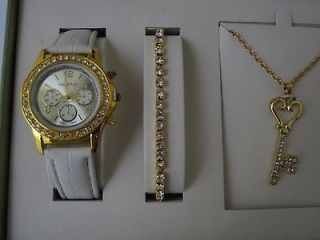 COTE D AZUR WOMENS WATCH, BRACELET & NECKLACE SET [NEW IN BOX]