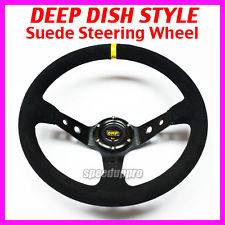 350mm Suede Deep Dish Steering Wheel Corsica Style 14 inch BLACK