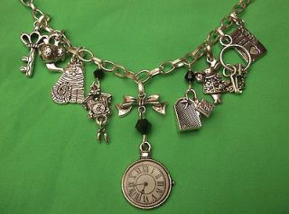 Necklace Silver Chain, Clock and charms black crystals ALICE IN