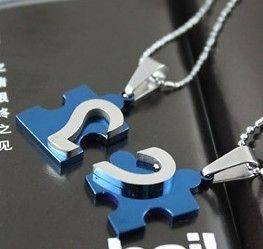 Stainless Steel I Love You Heart Love Puzzle Wedding Couple Necklaces