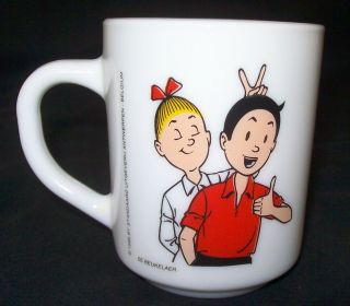 1995 De Beukelaer Cartoon Boy & Girl Milk Glass Cup Arcopal France