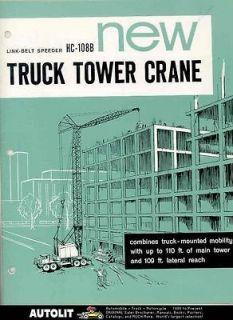 1964 Link Belt Speeder HC108B Truck Crane Brochure