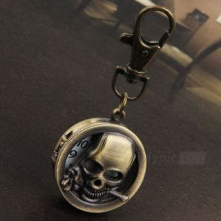 Metal Retro Brass Skull Watch Key Chain Ring Keychain Keyring Fashion