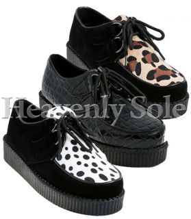 NEW LADIES WOMENS FLATFORM LACE UP CREEPER SHOES BLACK SUEDE LEOPARD