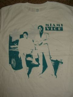 Miami Vice Tv Show Crockett & Tubbs Sitting On Car White T Shirt