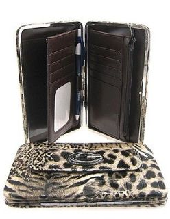Croc Animal Leopard Zebra Print Thick Flat Wallet Clutch
