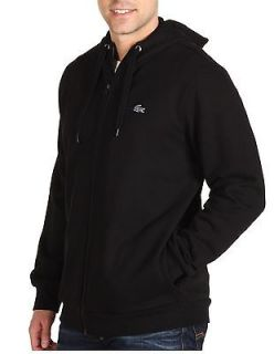 LACOSTE black OUTLINE CROC zip HOODIE sweatshirt jacket NEW AUTHENTIC