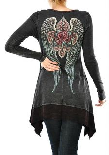 CRYSTAL FLEUR ROSE ANGEL WINGS TATTOO T SHIRT TUNIC DRESS & ED HARDY