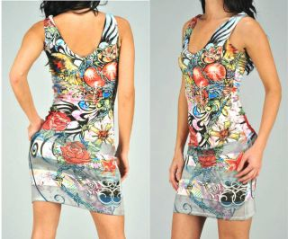 TRIBAL HEART WINGS ROSES TATTOO BODYCON TANK MINI DRESS & ED HARDY