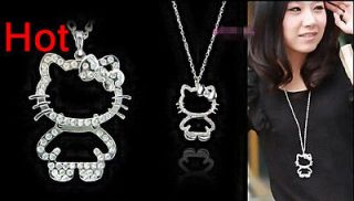 Lady Charm Fashion Jewellery HelloKitty Bow Crystal Necklace Pendant