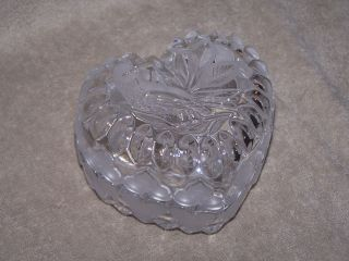 Hofbauer Lead Crystal Bird Heart Trinket box Germany Byrdes
