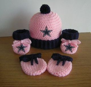 DALLAS COWBOYS BABY GIRLS HAT, BOOTIES & MITTS SET.0 3 mos.cute