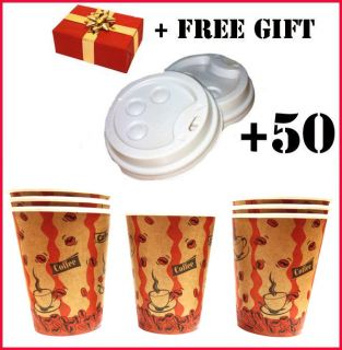 Disposable Cafe COFFEE Paper Cups 8oz 250ML+50 LIDS for paper cup 8oz