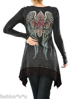 CRYSTAL FLEUR ROSE ANGEL WINGS TATTOO T SHIRT TUNIC DRESS S & ED HARDY