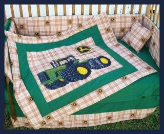 Custom made JOHN DEERE Brown Plaid Crib Bedding Set