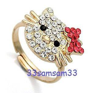 HELLO KITTY CAT COCKTAIL 18KT GOLD GP 1.8CT DIAMOND RING + GIFT BOX