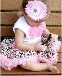 2Pcs Baby Girl Kids Tutu Dress Top+Skirt Brown Pink Black Dress