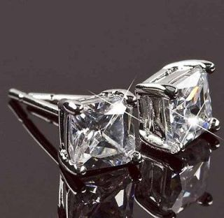 Sparkling 9K Whie Gold Filled CZ Square Sud Earrings,20655(L)